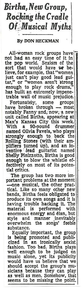 09-08-72 NYT Review - Birtha @ Max's Kansas City