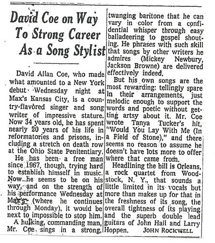 05-24-74 NYT REview - David Allan Coe @ Max's Kansas City
