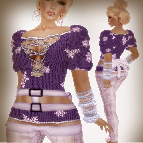 A&A Fashion Snowflake Sweater Violet