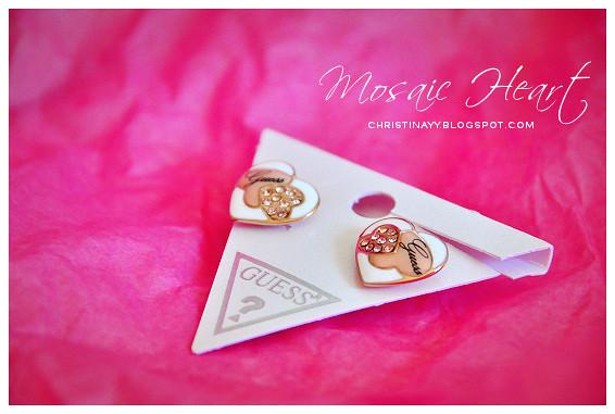 GUESS Mosaic Heart Stud Earrings (Rose Gold)