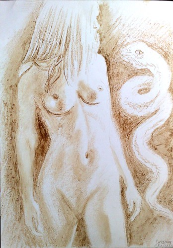 Eva pictura facuta cu cafea si ciocolata - Eve coffee and chocolate painting
