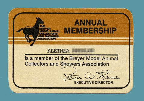 BMACSA membership card, 1985