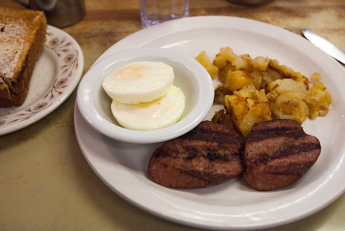 Farm Sausage with Poached Eggs, Hash Browns & Toast @ Blackfoot Truckstop Diner