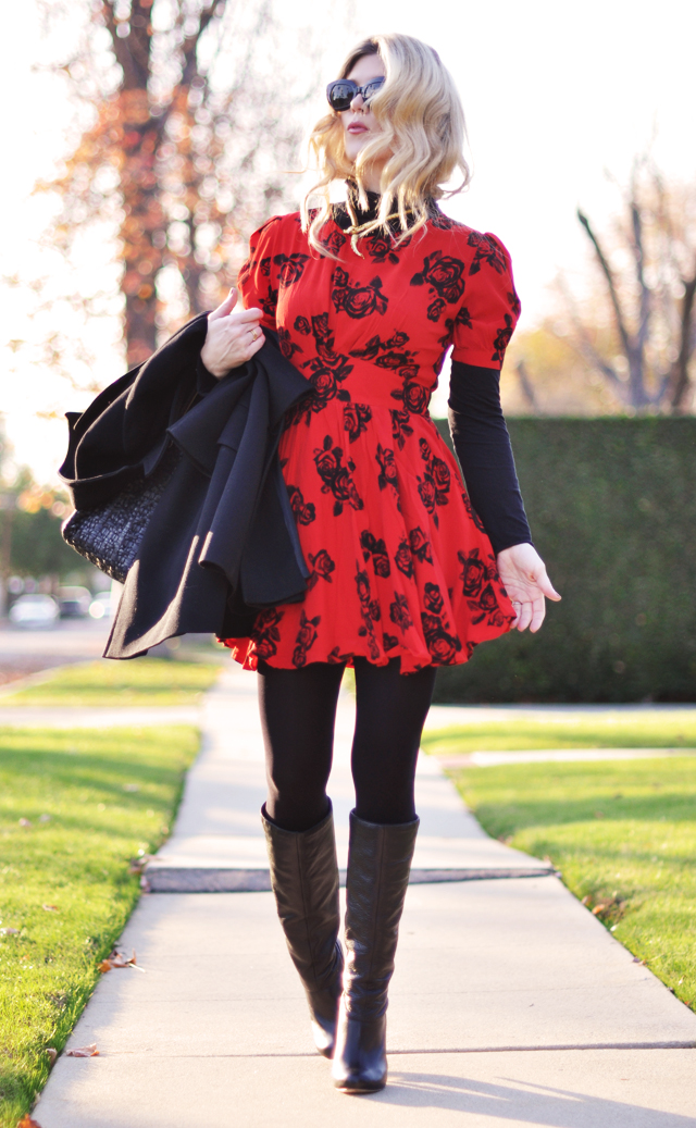 red dress- rose print- black boots -turtleneck