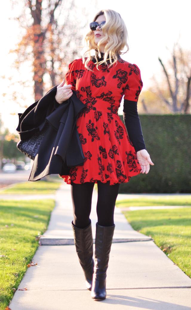 red dress- rose print- black boots -turtleneck