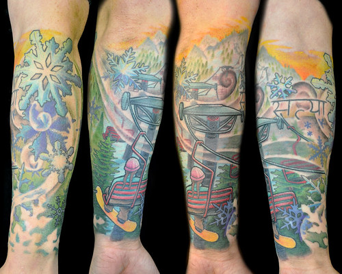 Megon Shore at Under the Needle, Seattle. Winter, Snowflake, Chairlift, Ski, Snowboard, Half Sleeve Tattoo by UndertheNeedle