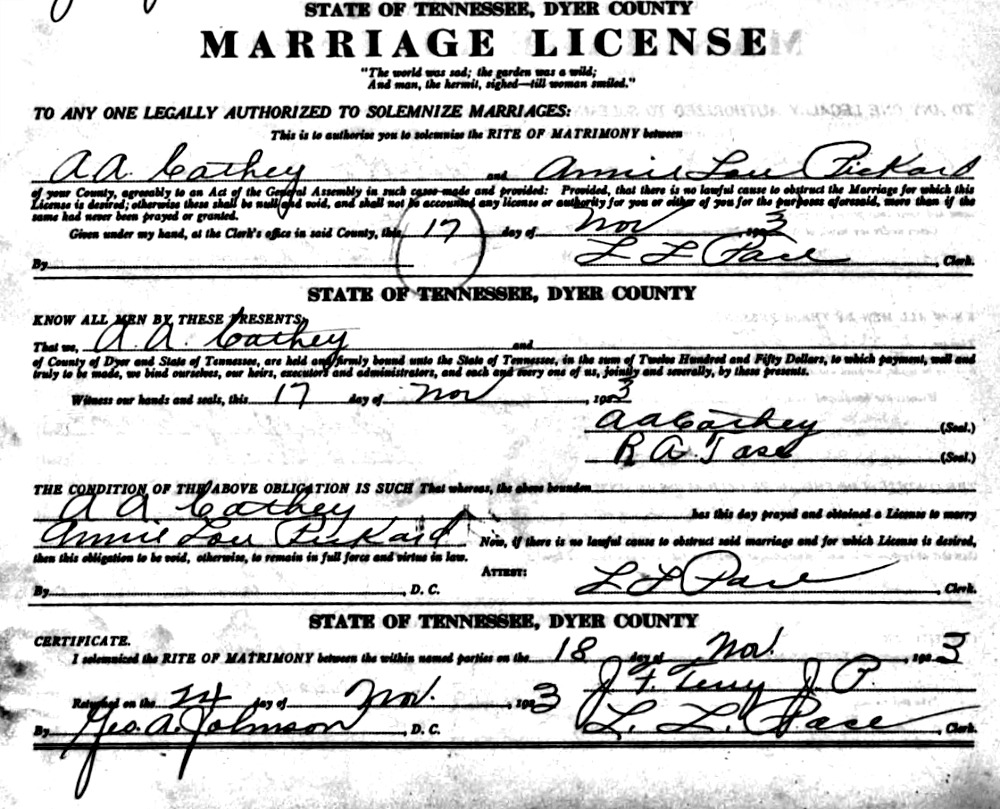 Acra Archie Cathey and Annie Lou Pickard Marriage