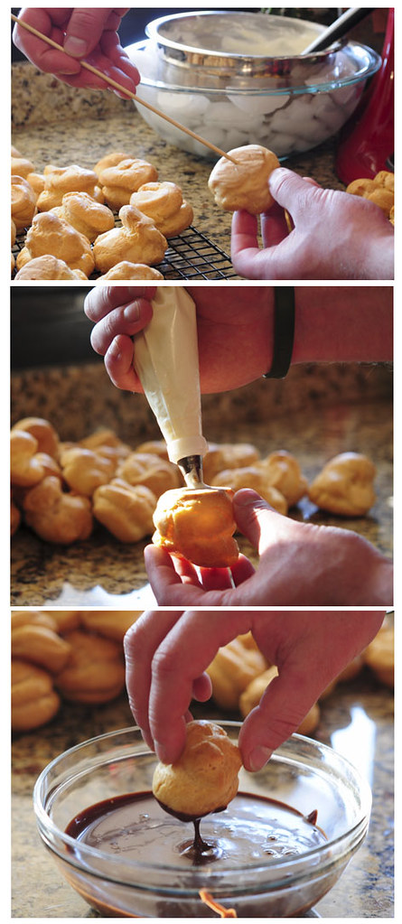 poke, fill and dip cream puffs