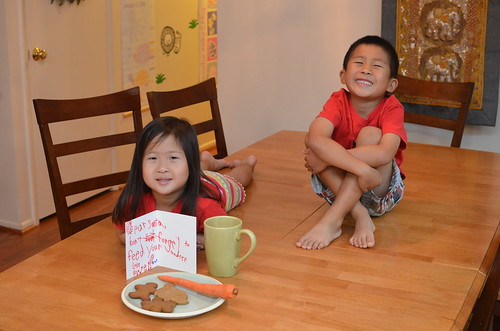 Aki and Owen with their Santa note and snack