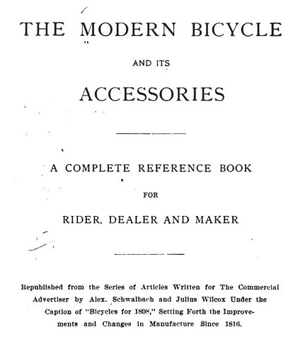 Modern Bicycle Reference Book Title Page (1898)