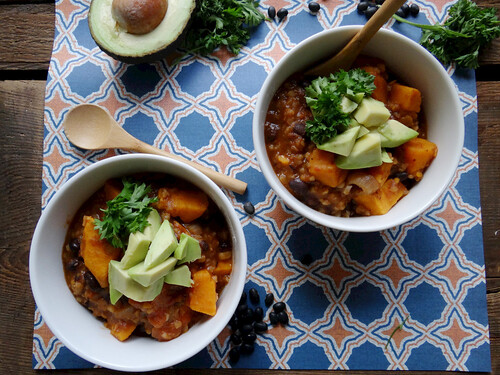 sweet potato, black bean + bulgar soup