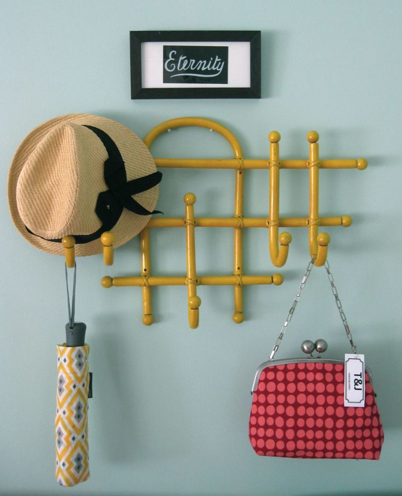 Yellow coat rack