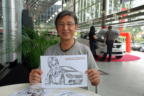 Caricature live sketching for Tan Chong Nissan Almera Soft Launch - Day 2 - 3