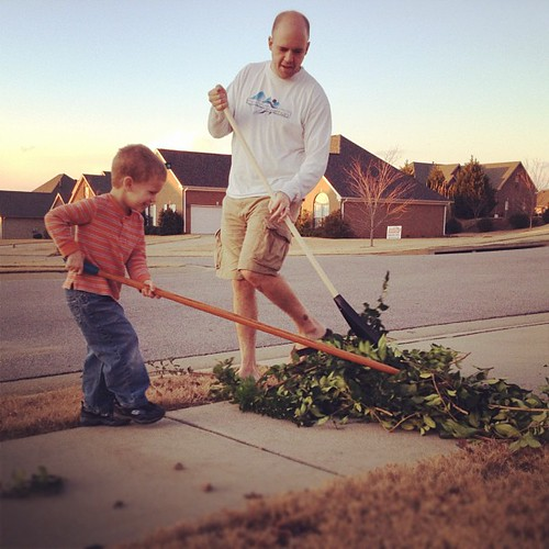 Daddy's only willing late afternoon helper. What a team.
