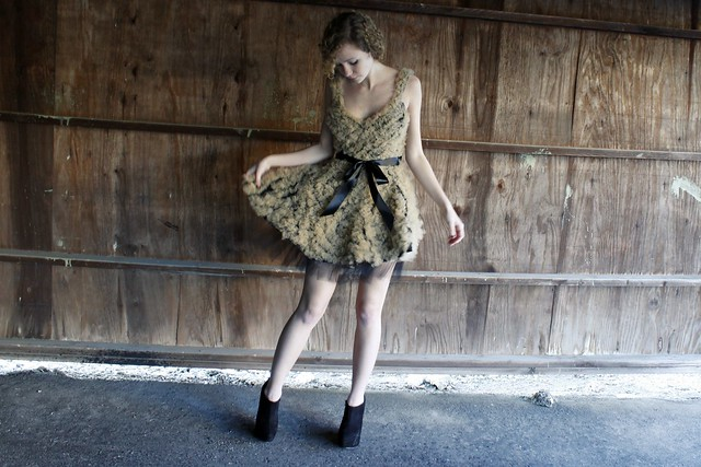 Wood Tulle Ruffle Dress