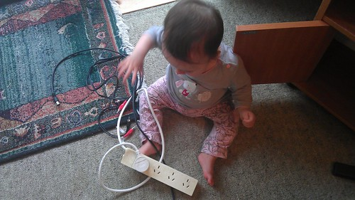 Top parenting tip: multiboxes and coaxial cable make great toys for ten month olds