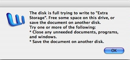 Microsoft Word Disk Full Error Message (Apple)