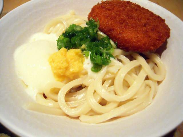 Udon with poached egg & grated ginger and croquette