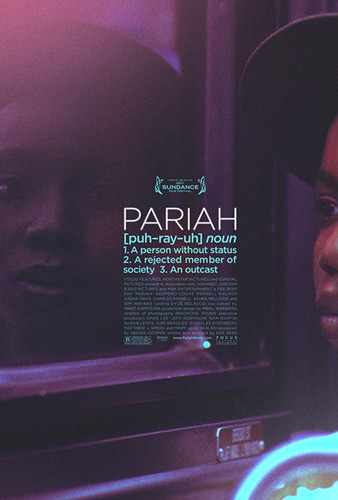 The purple-tinged movie poster of Pariah, featuring Alike sitting in a bus seat looking at her reflection in the mirror.