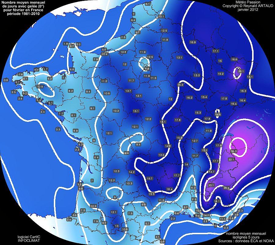 nombre moyen mensuel de jours avec gelée 0° pour le mois de février en France sur la période 1981-2010