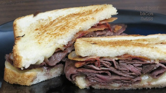 Roast beef, bacon, and Swiss grilled cheese sandwich