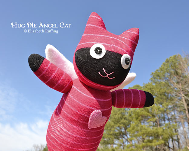 Red-and-pink striped Alley Cat Angel Sock Kitten, original art toy by Elizabeth Ruffing