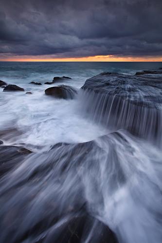 cascade clouds flow ocean rocks seascape sunrise water waves whalebeach newsouthwales nsw australia northernbeaches ig fh