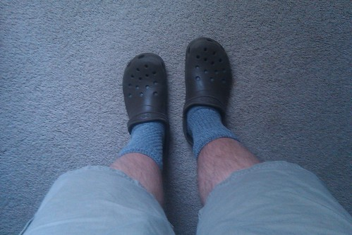 Lazy Sunday Attire - shorts, Cabella socks and Crocs