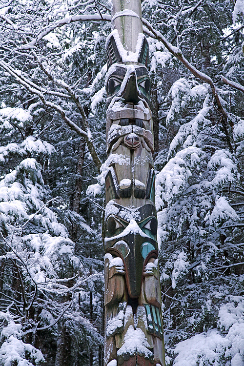 snowy totem, Totems Historic District, Kasaan, Alaska