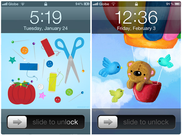 Sewing Kit and Bear iPhone wallpapers (and other designs)