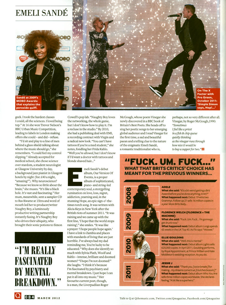 Emeli Sandé - Q Magazine March 2012 | 'Our Version Of Events… | Flickr