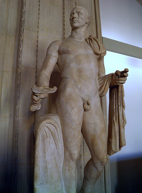 Heroic nude statue of Julius Caesar, early 1st century AD, found in Rome, Louvre Museum, Paris