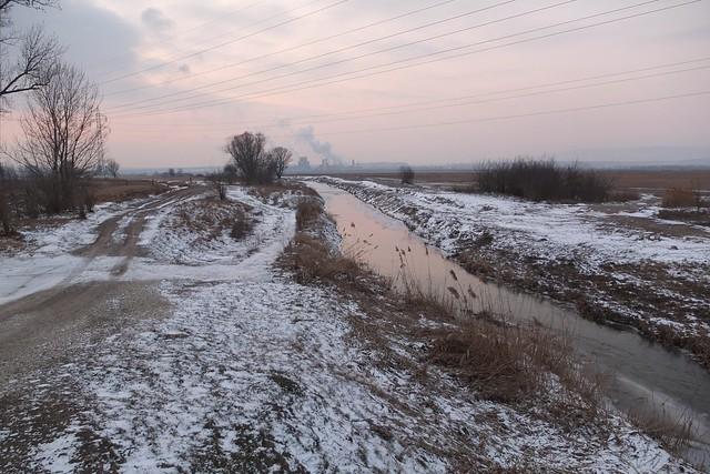 Frozen landscape in Western Hungary