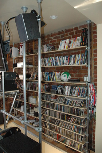 Space Saving Stairway Shelves and Entertainment Center