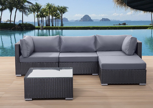 Ordinaire Outdoor Sectional Sofa In Black Wicker