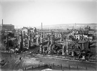 Tampereen taistelun aikana tuhoutunutta Tammelan kaupunginosaa, Kuva: Vapriikki