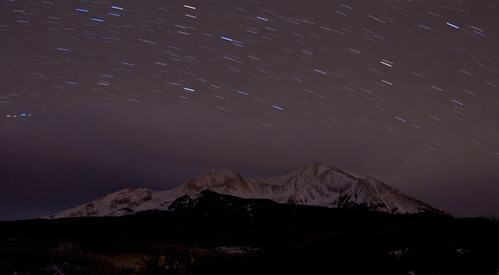 longexposure november sky mountain snow night dark stars star colorado peak co nightsky aspen carbondale startrail 2011 sopris mountsopris 1740mmf4l canon7d tobyharriman mountainwithstars minuteexposures