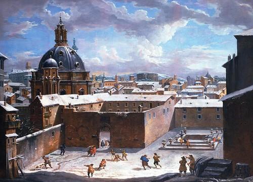 Roma, Piazza Venezia (1730?): Giovanni Paolo Panini, Roma Innevata: una inedita piazza Venezia la cupola è quella di S. Maria di Loreto (1730).