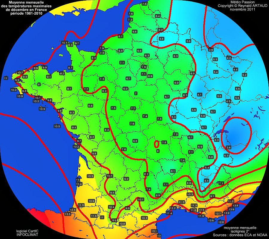 Moyennes mensuelles des températures maximales pour le mois de décembre en France sur la période 1981-2010