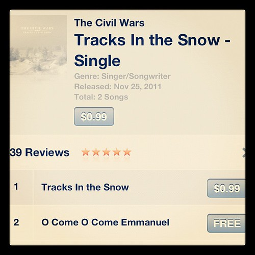 One more...#christmasmusic to check out @thecivilwars http://itunes.apple.com/us/album/tracks-in-the-snow-single/id478079728
