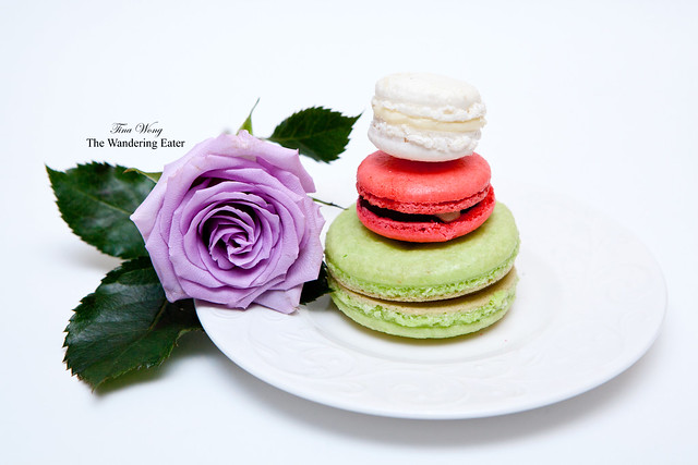 My trio of homemade macarons: Pistachio (large), foie gras, and jasmine