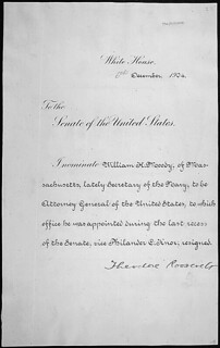 Message of President Theodore Roosevelt nominating William H. Moody to be Attorney General of the United States, 12/06/1904