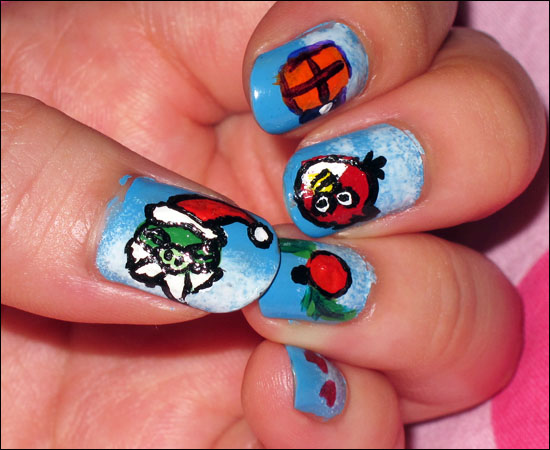 Angry Birds Christmas Nail Art