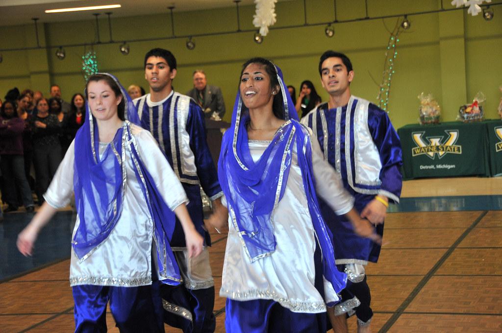Members of Wayne State's Warrior Bhangra dance group perfo