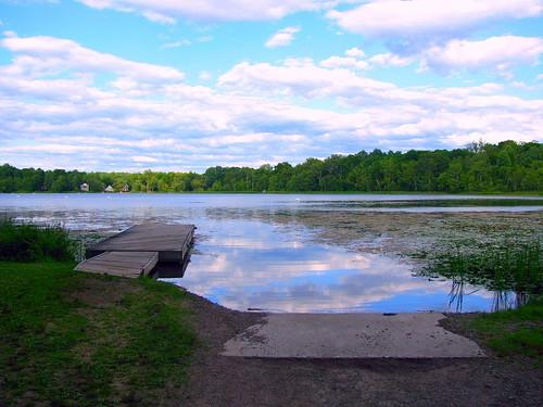 Little pier and boat launching ramp on Little Swartswood Lake, New Jersey by Bogdan Migulski