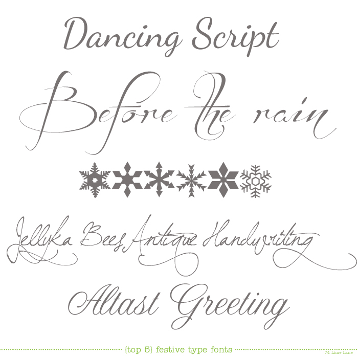 {today's top 5} festive fonts
