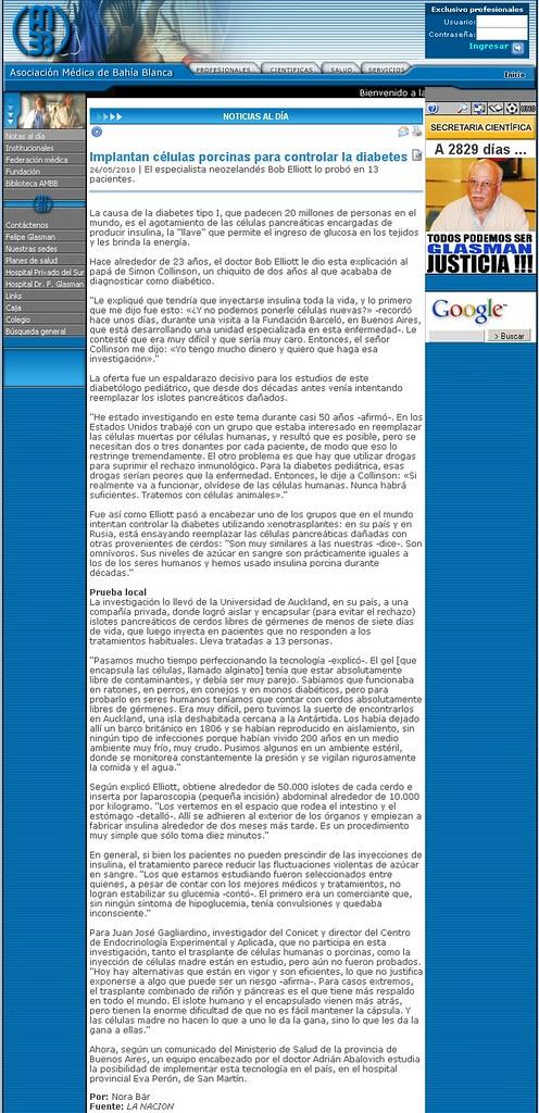 Site Asociaci¢n MÇdica en B.Blanca ( Nota ) 26-5-10