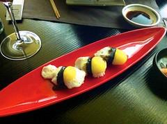 Sushi de huevo de codorniz - Restaurante Fuku - Madrid