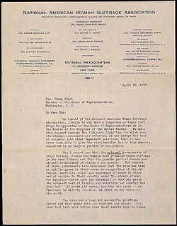 Petition from Carrie Chapman Catt of the National American Woman Suffrage Association, 04/13/1917 (page 2 of 2)