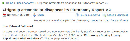 citigroup attempts to disappear plutonomy report
